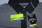Callaway 100% Polyester Slim Fit Golf Polo Shirt Black & White Stripe S-XXL New