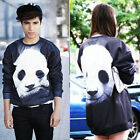 Cute Vivid Panda Print Long Sleeve Men Women T-Shirt Crewneck Loose Sweatshirts