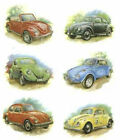 6 VW Beetle Bug Automobile Select-A-Size Waterslide Ceramic Decals Tx image