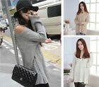 Women Curved Slouchy Shoulder Cut Out V-neck Long Sleeved Jumper Knitted Sweater