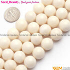 "Natural white round coral gemstone jewelry making loose beads 15"" 4/6/8/10/12mm"