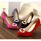 Suede like Bead Career OL Pumps Pointed Toe Shoes ladiess wedding shoes  [HA]