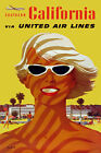 TX162 Vintage Southern California Airline Travel Tourism Poster Re-print A3/A4