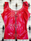 R670 Rubber Latex Buckle Vest Top Fetish Clothing WESTWARD BOUND £73 BLK/RED