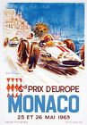 AV91 Vintage 1963 Monaco Grand Prix Motor Racing Poster Art Re-Print A1/A2/A3/A4