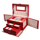 Elegant Jewelry Display Storage Huge Ring Watch Box Leather Travel Case Necklace