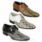 Mens Italian Shoes Formal Snake Pattern Lace Up Office Smart Work Wedding Casual