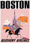 TX70 Vintage 1950's Boston USA Travel Airlines Poster Re-Print A1/A2/A3/A4