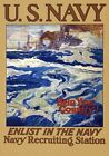 W76 Vintage WWI Enlist U.S Navy Recruitiment US War Poster Print WW1 A1/A2/A3/A4