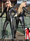 Gothic Wetlook Catsuit Body Suit Black Faux Leather Zipper Jumpsuits Catwoman