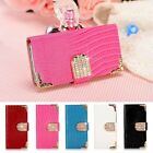 For Samsung iPhone LG Luxury Bling Leather Case Magnetic Flip Wallet Stand Cover