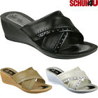 WOMENS LADIES SUMMER BEACH WEDGE COMFORT MULES SANDALS FLIP FLOPS MULES SIZE