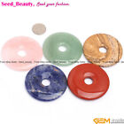 50mm round donut ring gemstone pendant loose beads 1pc ,6 materials selectable