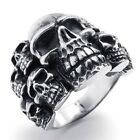 USA Seller Men's Silver Stainless Steel Skull Harley Biker Ring Size 8-14 SR45