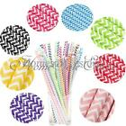 25/50/100X Colorful Wavy Paper Drinking Straws Decorative Wedding Party Home