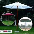 9ft Wood Outdoor Patio Umbrella 8 Rib Garden Sunshade Parasol Green/Cream/Red