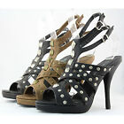 Studded High Heel Peep Toe Double Ankle Strap Platform  Clubwear Womens Shoes