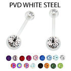 White Belly Bars Navel Ring Belly Button Bar Crystal Gem Body Jewellery 3 Sizes