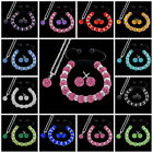 Pink Crystal Disco Bead Ball Shamballa Bracelet Stud Earring Silver Necklace Set