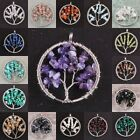 Tree Of Life Crystal Gemstone Olivine Amethyst Garnet Chips Round Charms Pendant