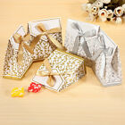 100Pcs Cute Gold Silver Ribbon Gift Boxes Wedding Party Favor Candy Paper Bags