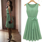 2014  Womens Chiffon BOHO Pleated Skirt Skater Sleeveless Summer dress 2 colors