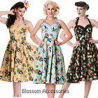 RKP15 Hell Bunny  Sassy Tropical Vintage 50s Rockabilly Dress Pin Up Swing Dance