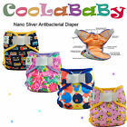 Reusable Baby Cloth Diapers Coolababy Nano Sliver Adjustbale Nappy + Inserts
