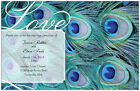 50 100 Peacock FEATHER 5X7 WEDDING Personalized Invitations  BLUE Custom
