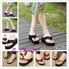 1pair Vogue Girl's Bling Flatform Wedge Flip Flops Beach Sandals Comfy Shoes-Z