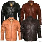 Mens Military Style Vintage Slim Fit Waxed Real Leather Jacket