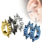 Surgical Stainless Steel Spiked Oval Shape Hoop Clip On Earrings (Choose Color)