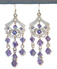 SWAROVSKI CRYSTAL ELEMENTS Silver Prom Chandelier Earrings TANZANITE Purple