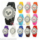 Fashion Crystal Bling Ladies Womens Girls Jelly Silicone Wrist Quartz  Watch New