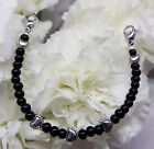 New Black Onyx & Heart Medical ID Alert Replacement Bracelet! Free Shipping!