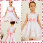 P188 NWT Pink White Wedding Party Flower Girls Pageant Dresses Age SIZE 5 to 10Y