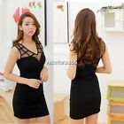 Stylish Women's  Black Sleeveless V Neck Splicing Net Yarn Tank Mini Dress N4U8
