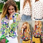 Vintage Women Colorful Floral Print Chiffon Long Sleeve Casual Tops Shirt Blouse