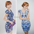Vintage Women Sleeveless White And Blue Chinese Porcelain Floral Print Dress New
