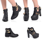 NEW WOMENS CUT OUT GOLD BUCKLE LADIES ANKLE BOOTS SHOES SIZE 3-8