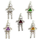 925 Sterling Silver Girl Triangle Birthstone CZ Pendant Charm (Choose Any Month)