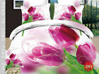 Home Lotus Print Bedding3D Oil Painting Red RoseFlower Bedding Set, Queen 4pc