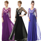 Womens Long Sleeve Maxi Vintage Lace Evening Prom Winter Gown Formal Dress 09053