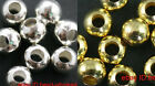 Wholesale 100-500pcs Round Ball Spacer Beads Silver/Golden Plated 4-8mm