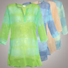 TUNIKA BLUSE STRAND Hippie Stickerei Pailletten Chiffon Transparent XS S M L XL