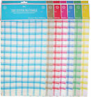 10 or 20 100% Cotton Tea Towels Check Design Assorted Colours for Kitchen
