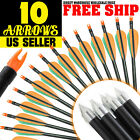 Archery Hunter Nocks Fletched Steel Arrows Fiberglass Hunting  Target Practice