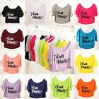 New Women Lady Batwing Cropped Belly Blouse Slouchy Tank Top Summer T-shirt Tee