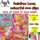Rainbow coloured Loom Band l or clear C & S clips, loom bands