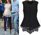 2014 New Hot Women's Sleeveless Crew Collar Lace Peplum Blouse Top Vest Shirts